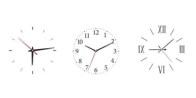 ミニマリズムスタイルのローマ数字とアラビア数字がセットされたモダンな掛け時計。コンセプトデザインの白い背景の上の黒い壁時計と古典的なアイコン