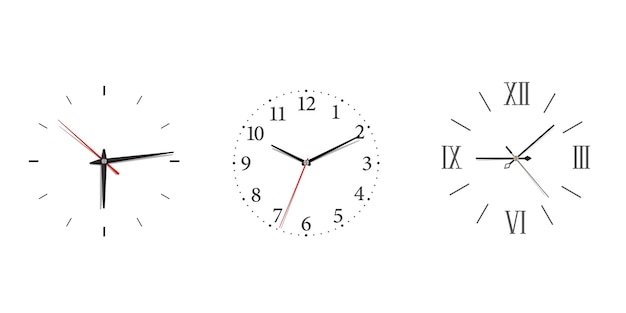 Modern wall clock set with roman and arabic numerals in minimalism style. classic icon with black wall clock on white background for concept design