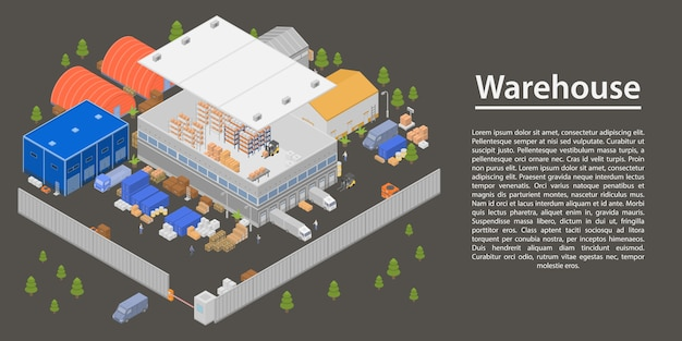 Modern warehouse concept banner, isometric style