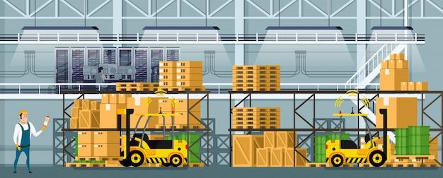 棚の上の商品と近代的な倉庫の室内空間