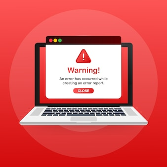 Modern warning pop up with flat design on red template