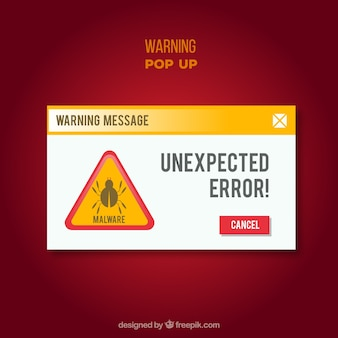 Modern warning pop up with flat design