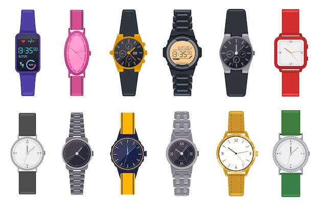 Modern watches. wristwatch, unisex time chronograph, smartwatch, man woman modern and fashion wrist clocks  illustration icons set. smartwatch wearable and fashion clock