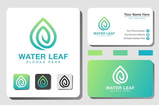 Modern water leaf line art gradient logo with business card design