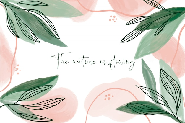 Modern watercolor background with leaves