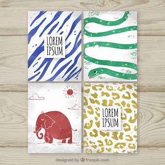 Modern watercolor cards with animals