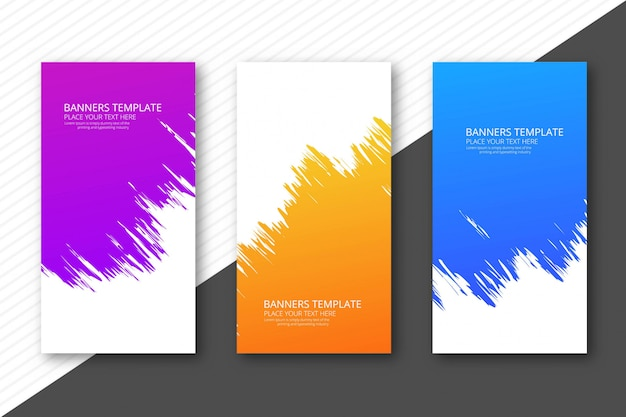 Modern watercolor colorful headers set template design