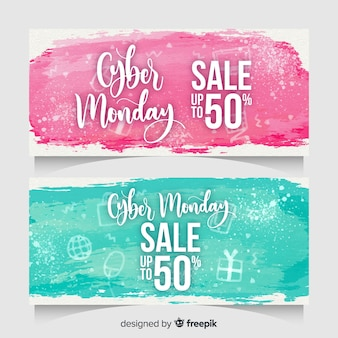 Modern watercolor cyber monday banners