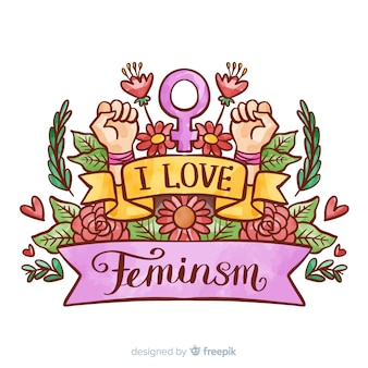 Modern watercolor feminism concept