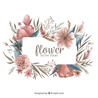 Modern watercolor floral frame