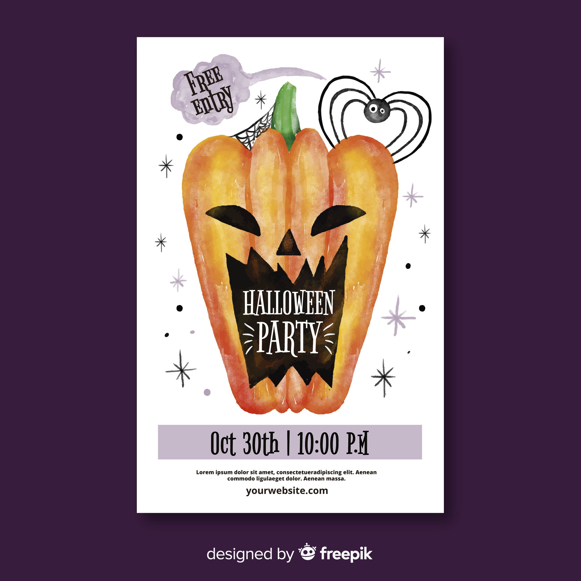 Modern watercolor halloween party poster
