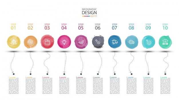Modern watercolor label infographics art.