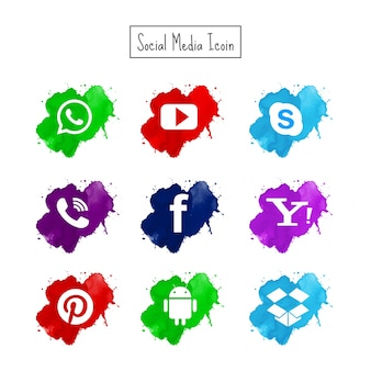 Modern watercolor social media icons set