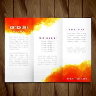 現代水彩つ折りパンフレットのデザインイラスト