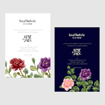 Modern watercolor wedding cards