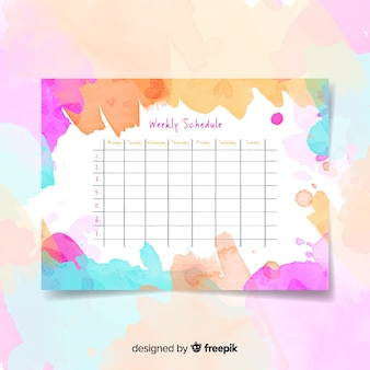 Modern watercolor weekly schedule template