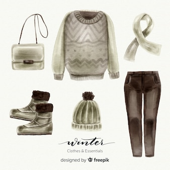Modern watercolor winter clothes collection