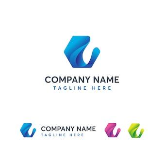 Modern wave letter e logo template