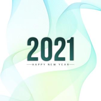 Stile moderno delle onde felice anno nuovo 2021