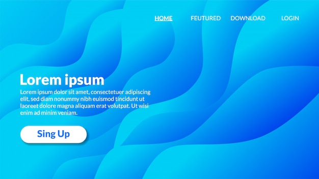 Modern wavy blue background gradient landing page