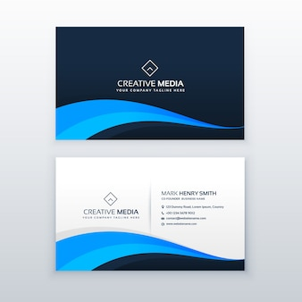 Modern wavy blue business card design
