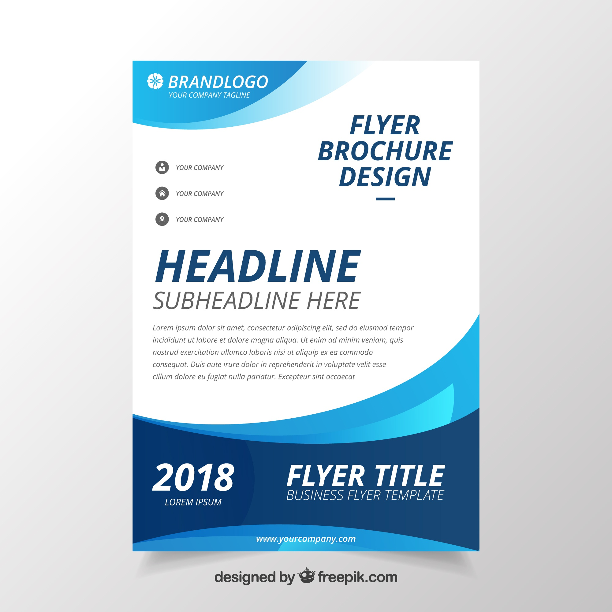 Modern wavy business brochure template