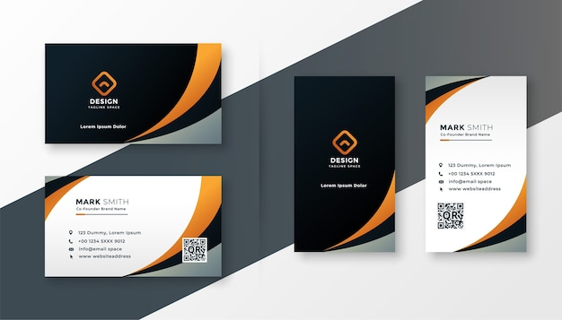 Modern wavy business card design template