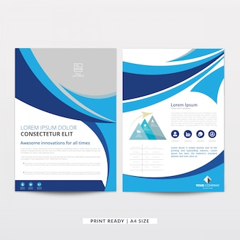 Modern wavy curved brochure template