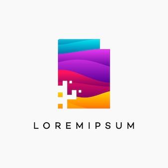 Modern wavy digital document logo designs concept vector, pixel document logo template, technology data icon logo