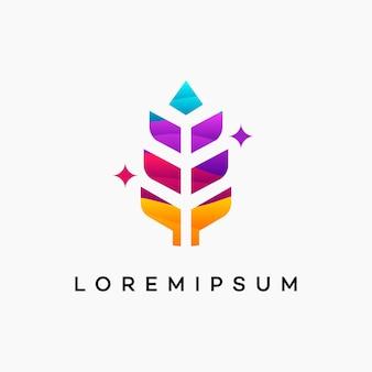 Современная волнистая концепция логотипа пшеницы зерна, значок вектора шаблона логотипа пшеницы сельского хозяйства