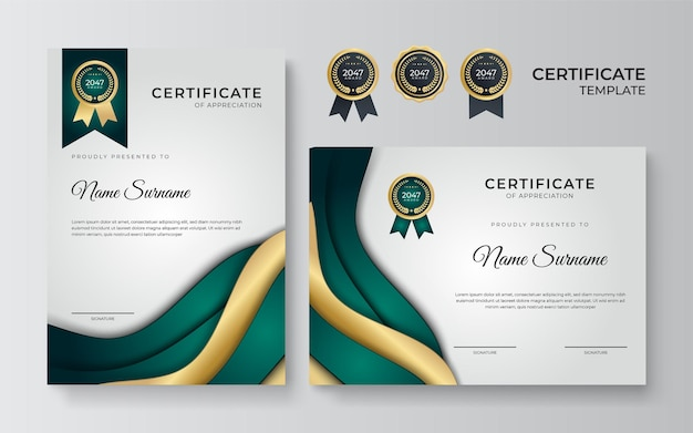 Modern wavy green and gold certificate template. certificate of achievement templates with elements of luxury gold badges. vector graphic print layout can use for award, appreciation, education