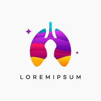 현대 물결 모양의 폐 로고 템플릿 벡터, 건강 폐 템플릿, 로고 심볼 아이콘