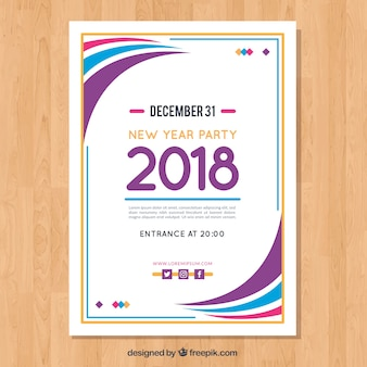 modern wavy poster template for new year party