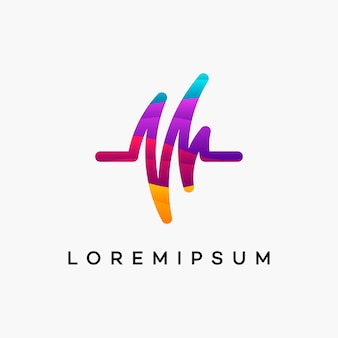 Современный вектор дизайна логотипа здравоохранения wavy pulse
