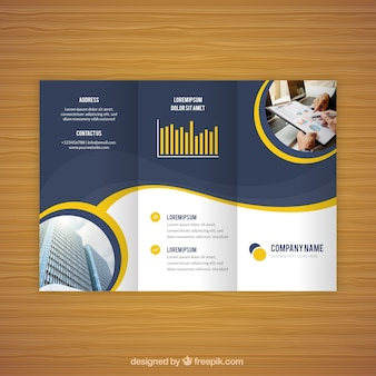 Modern wavy trifold business flyer