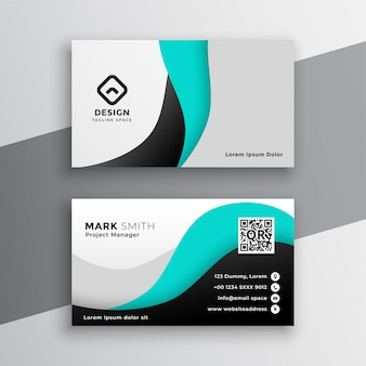Modern wavy turquoise business card