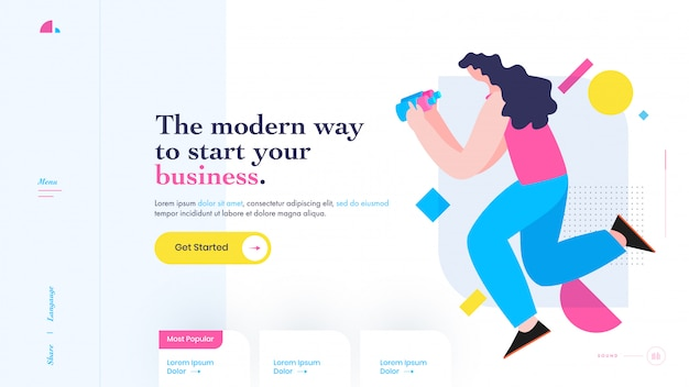 The modern way to start your business concept based landing page design