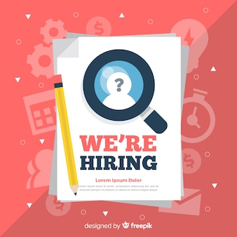 Modern we are hiring background in flat design