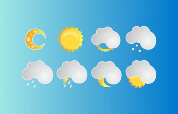 Установлены современные погодные символы. коллекция символов знака прогноза погоды