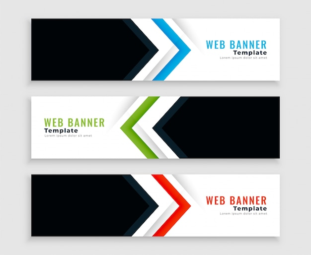 Modern web banners or headers in arrow shape style