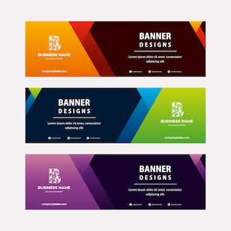 Modern web banners template with diagonal elements for a photo