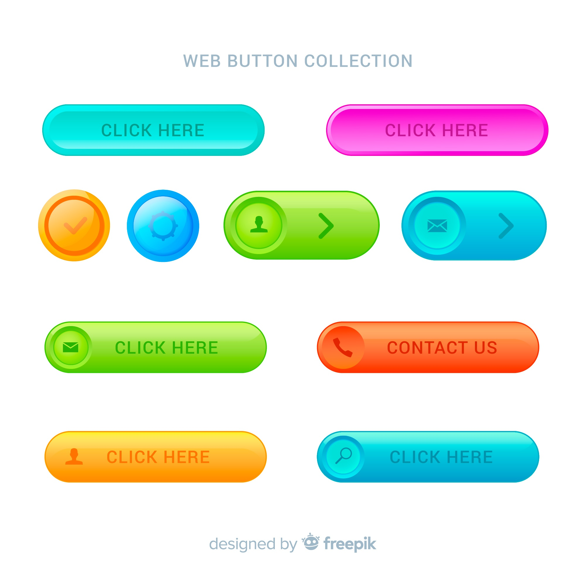 Modern web buttons in gradient style
