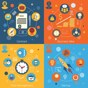 Modern web concepts flat set with contract business idea time management startup isolated vector illustration