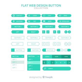 Modern web design button collection with flat design