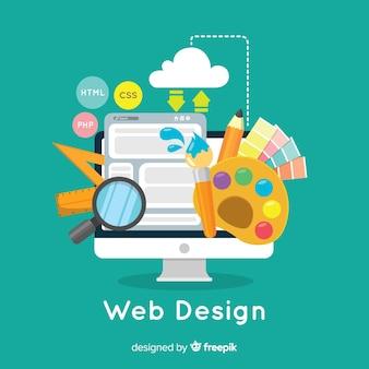 평면 스타일과 현대적인 웹 디자인 컨셉