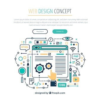 Modern web design concept with hand drawn style