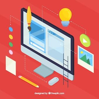Concetto di design web moderno con vista isometrica