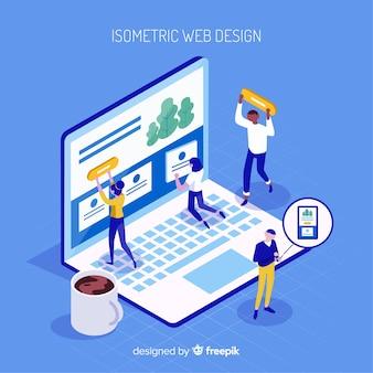 아이소 메트릭 뷰 현대 웹 디자인 컨셉