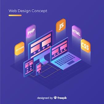 Modern web design concept with isometric view