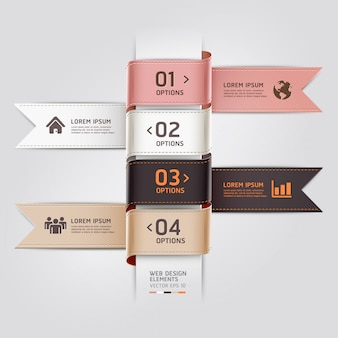 Modern web design template ribbon style can be used for workflow layout, diagram, number options, step up options, web template, infographics